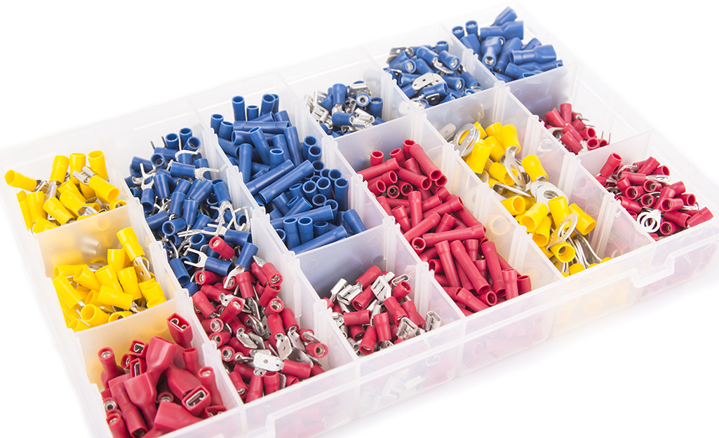A box of assorted wire connectors.