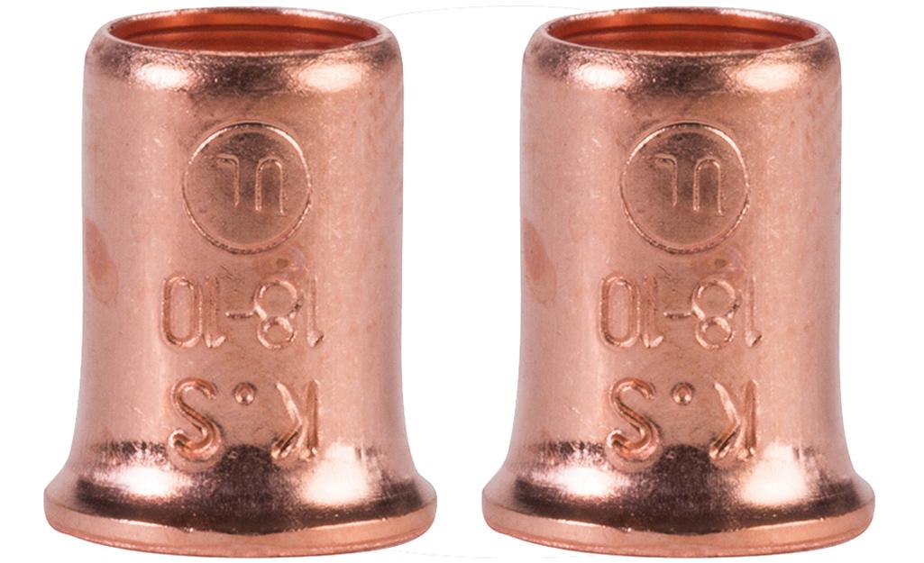 Two copper crimp-on wire connectors.