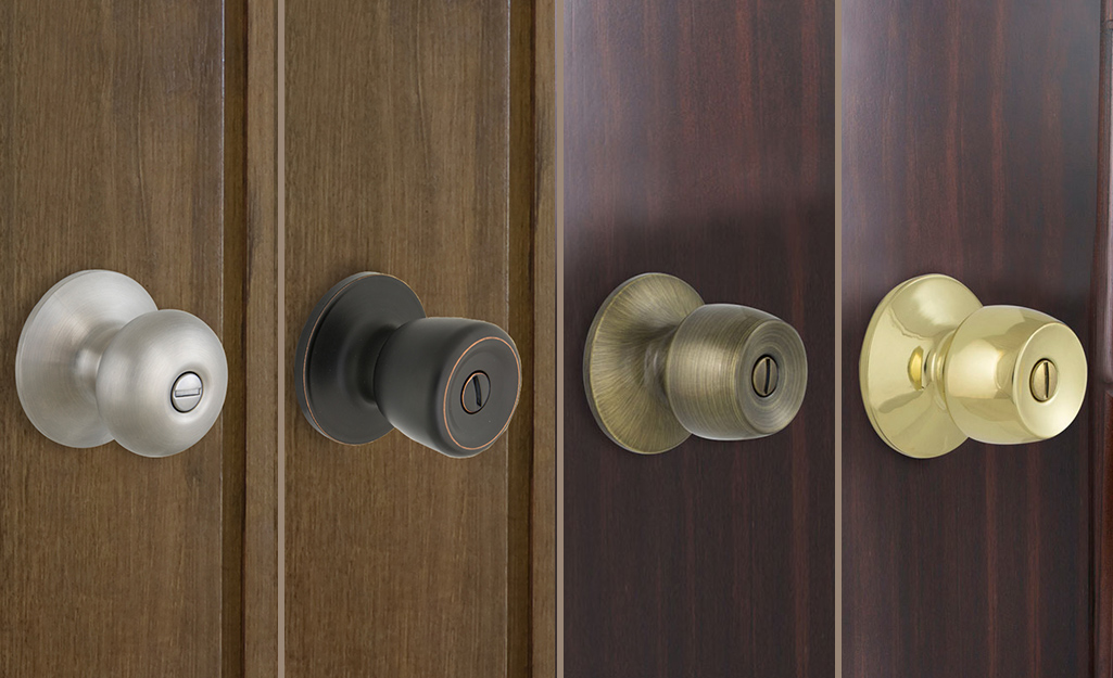 Four different door knobs on brown doors shown in different finishes.