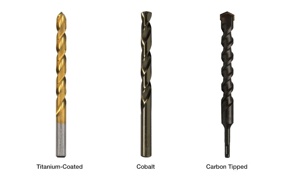 A display of a titanium-coated, cobalt and carbon tipped drill bits.