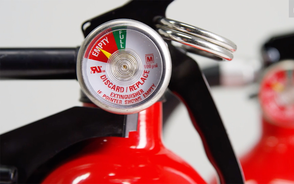 The pressure gauge on a fire extinguisher.