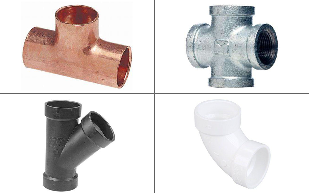 Four types of pipe fittings -- a tee, a wye, a cross and an elbow.