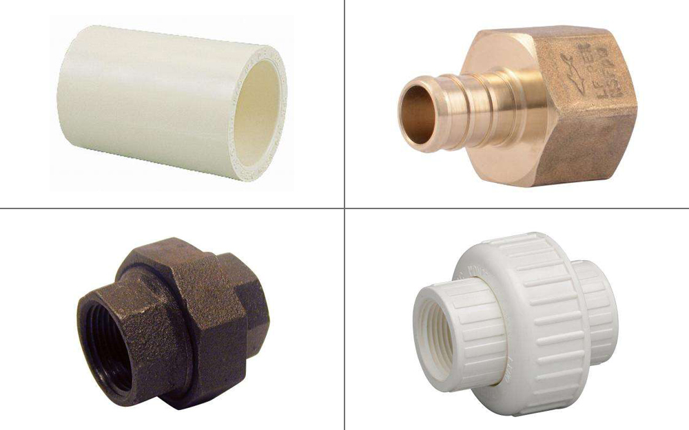 Four types of pipe fittings - a coupling, adapter, bushing and union.