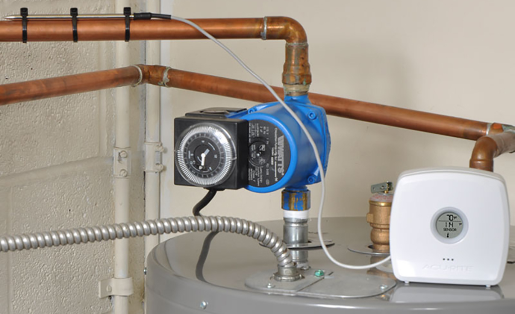 A supply line connected to a water heater.