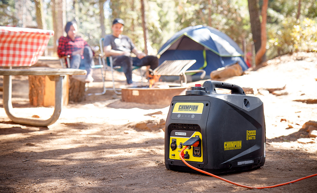 A portable generator at a campground.