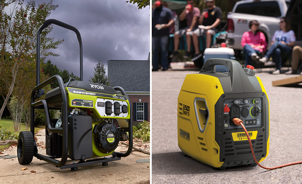 A split image with a portable generator on the left and an inverter generator on the right.