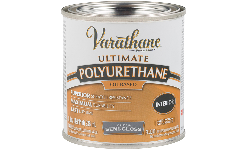 A can of polyurethane varnish on a white background.