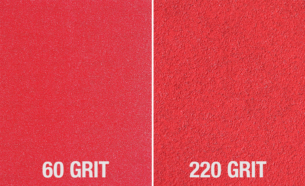 Images of 60-grit sandpaper (left) and 220 grit sandpaper (right).