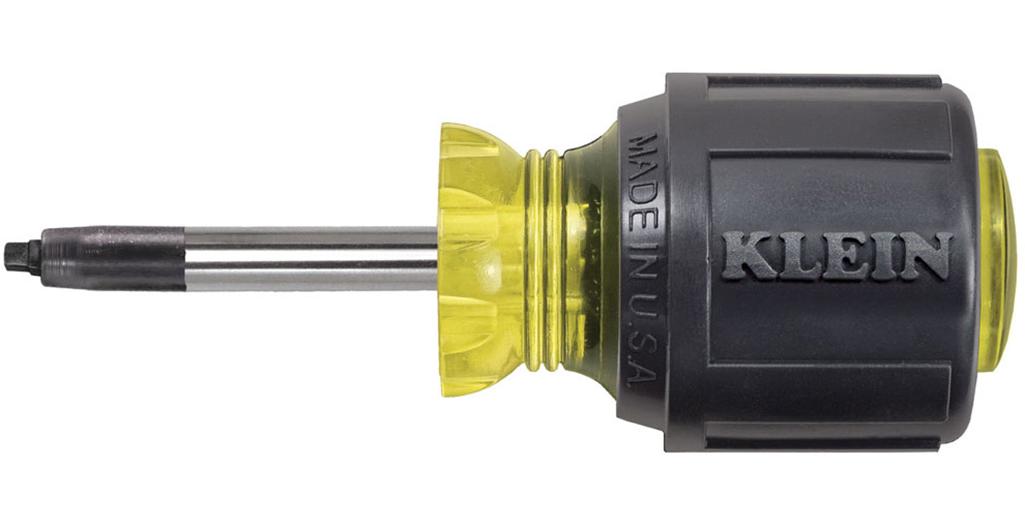 A short-shaft screwdriver with a Robertson head.