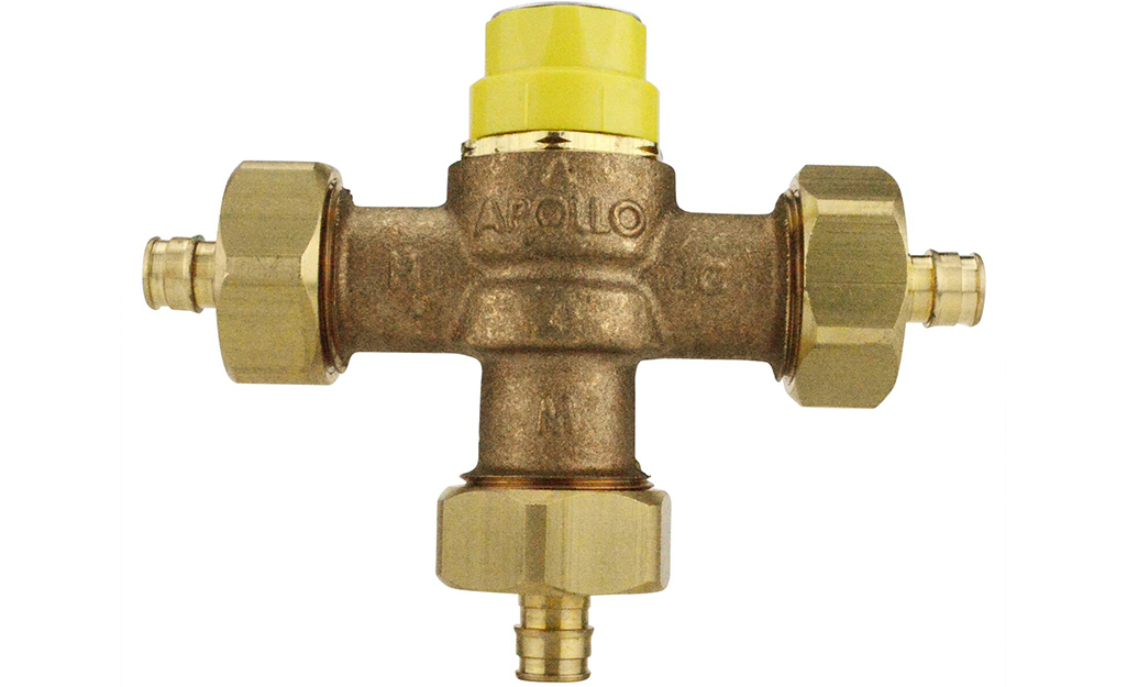An example of a shower mixing valve.
