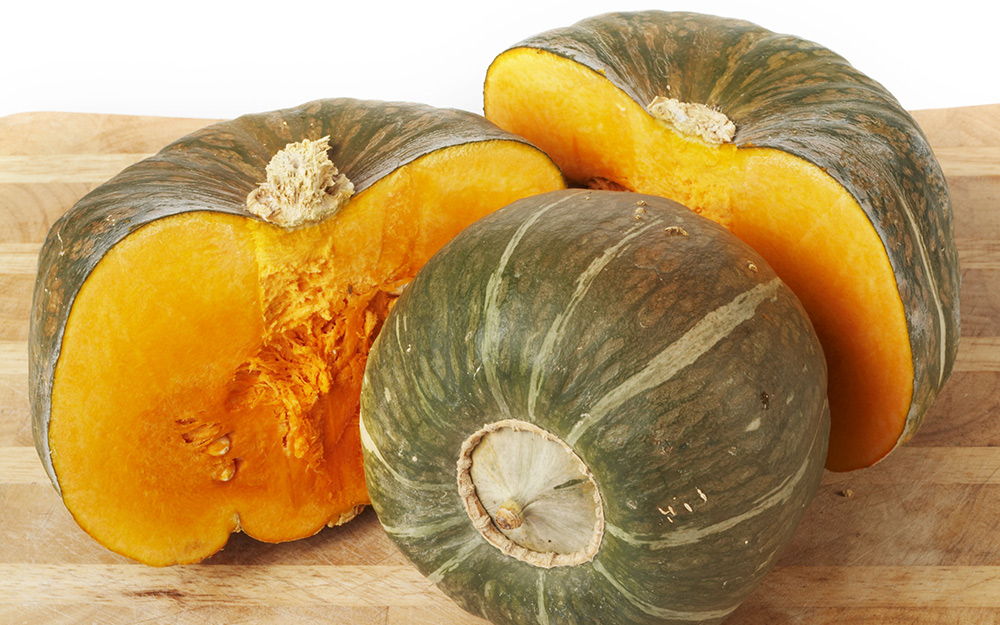 Buttercup squash sliced open.