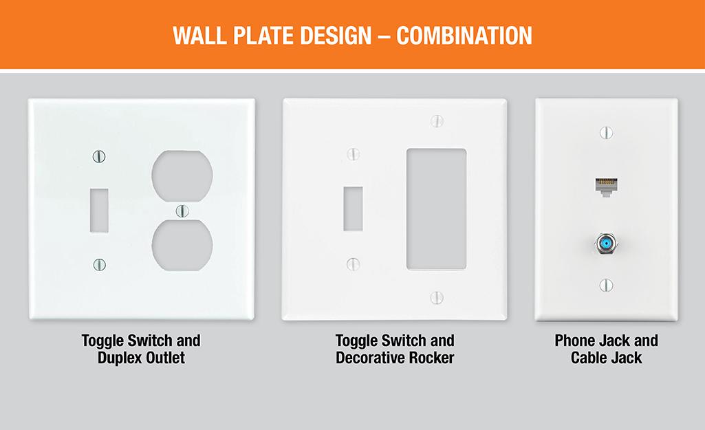 Một sơ đồ cho thấy ba loại.  Gồm các tấm tường kết hợp, bao gồm một công tắc bật tắt và tấm ổ cắm hai mặt, một công tắc bật tắt và tấm đá trang trí và một tấm giắc cắm cáp và điện thoại.