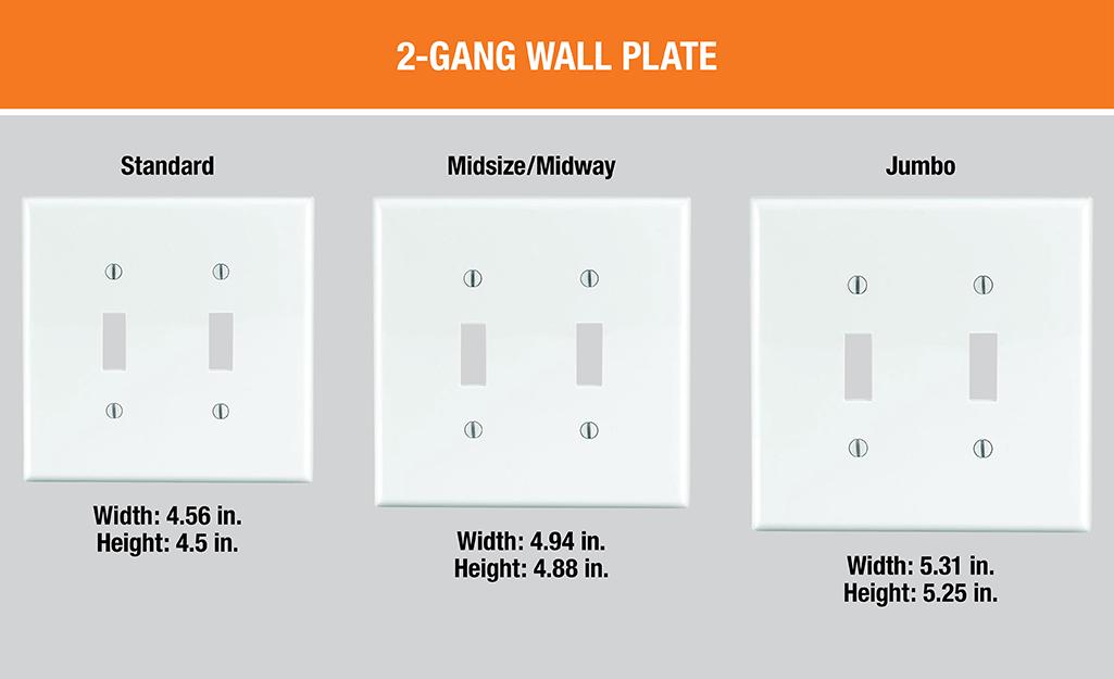 Sơ đồ hiển thị các tấm tường 2-gang tiêu chuẩn, cỡ trung và cỡ lớn bên cạnh nhau.