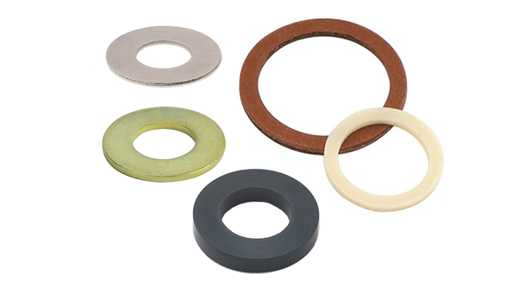 Five different washers of different sizes, colors and materials.