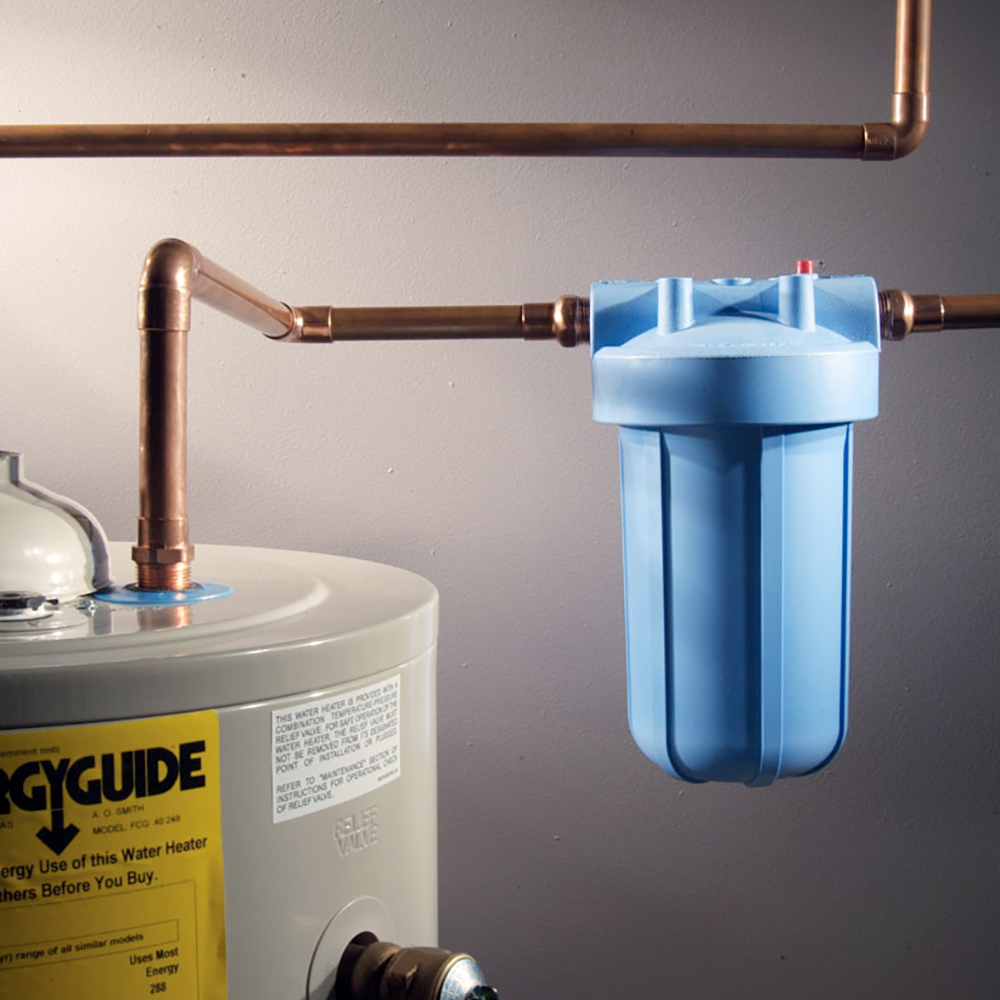 A water filter installed on a water heater.