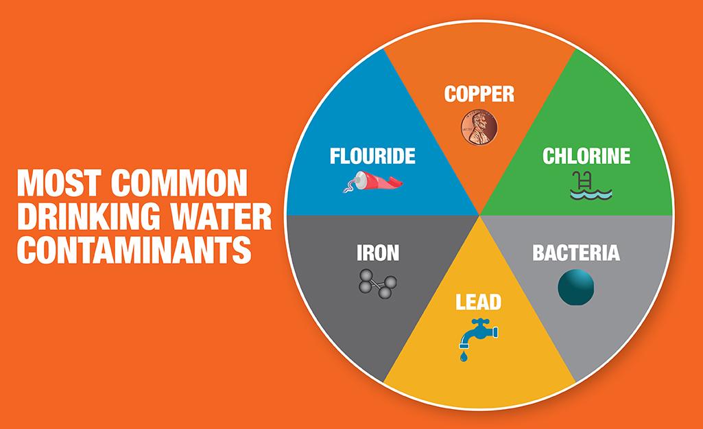 A diagram of various drinking water contaminants.
