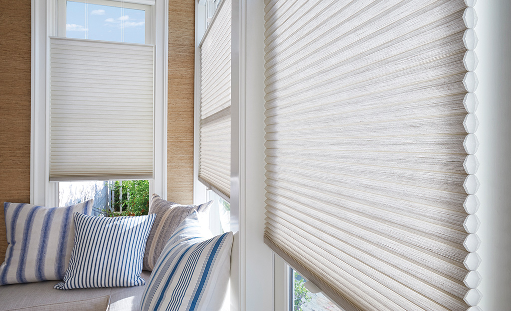 Cellular shades installed in a sunny room.