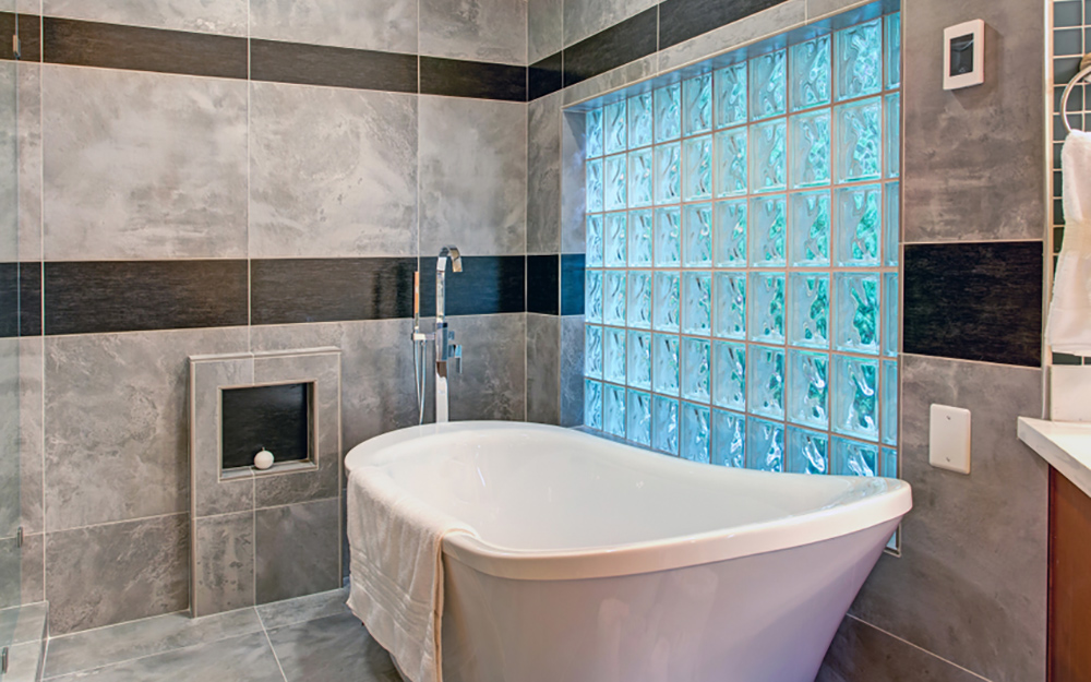 glass block windows over a bathtub