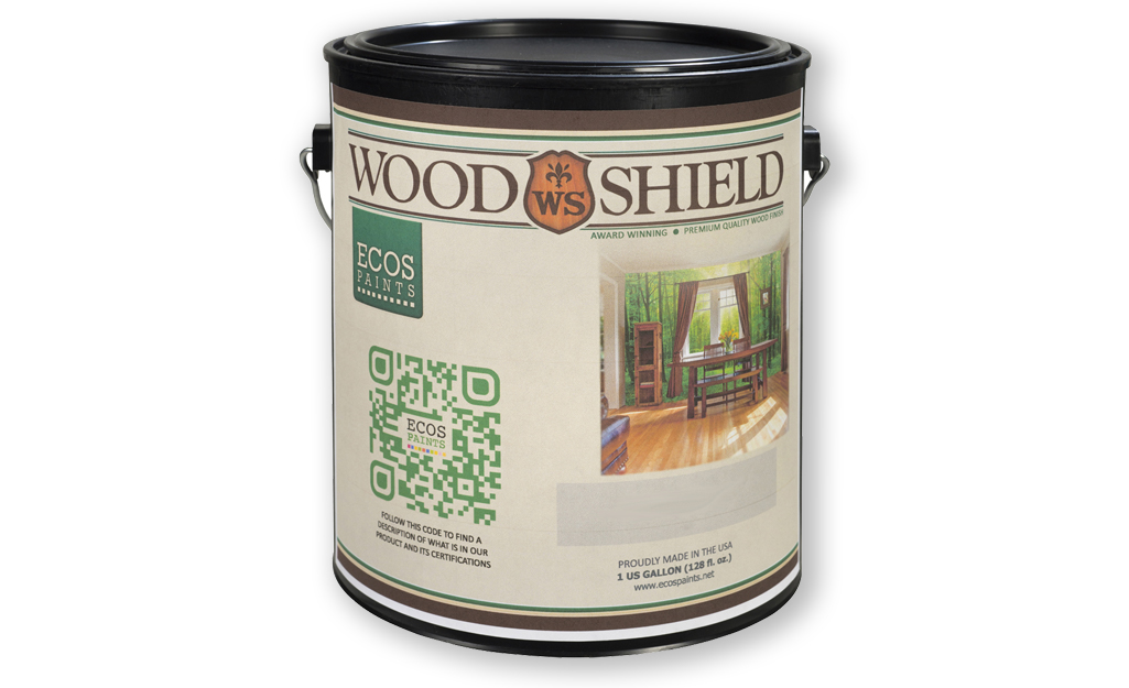 A container of varnish wood finish.