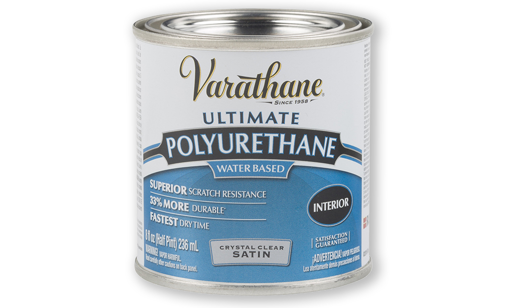 A container of water-based polyurethane wood finish.