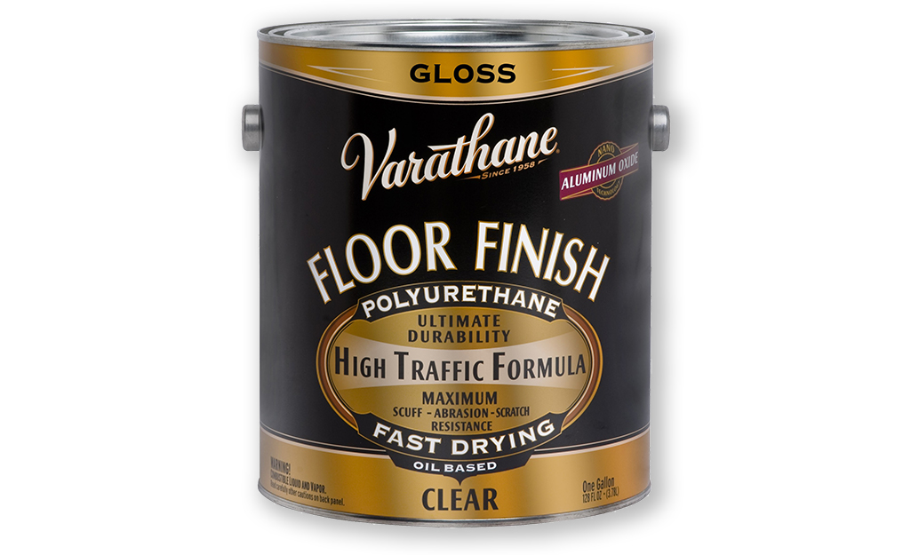 A container of oil-based polyurethane wood finish.