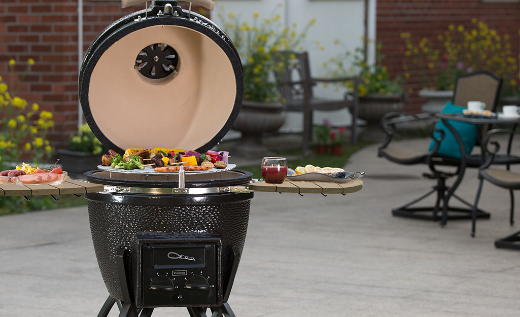 Food cooking on a kamado grill.
