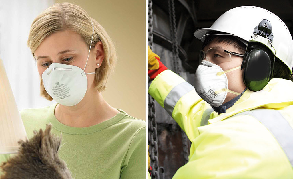 Two side by side photos of a person wearing a dusk mask versus a respirator.