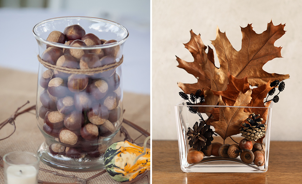 Vases filled with acorns, leaves and other fall items.