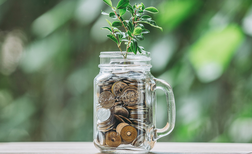 A mason jar vase filled with nuts, bolts, screws and a green plant.