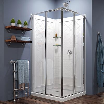 A corner walk-in shower.