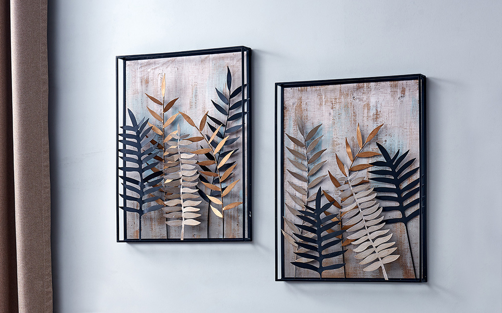 Dimensional wall sculptures used as wall art.
