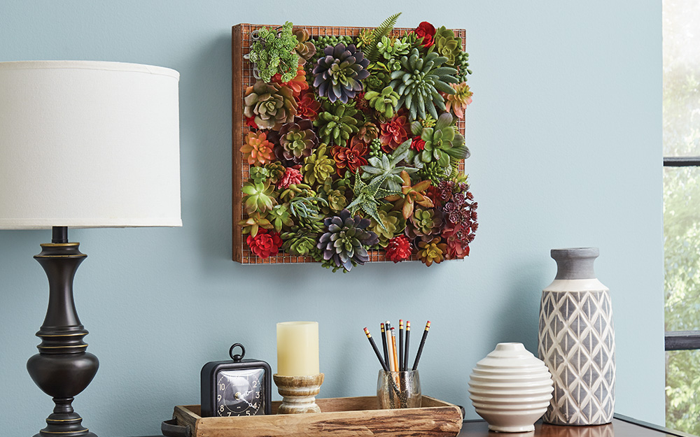 Different colored succulents growing on a board hung as wall art.