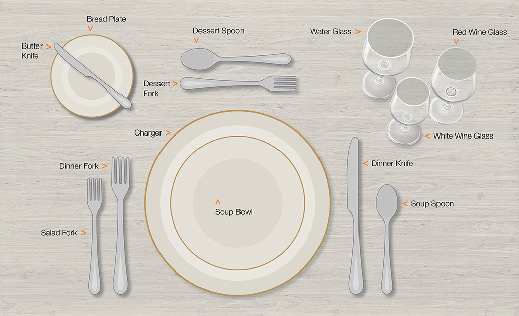 Formal table setting for eating soup.