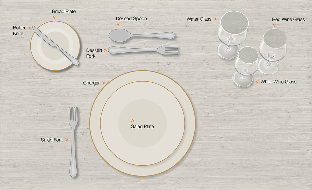 Formal table setting for salad.