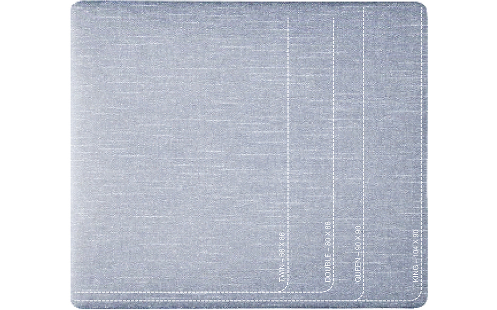 Duvet size chart with standard dimensions.