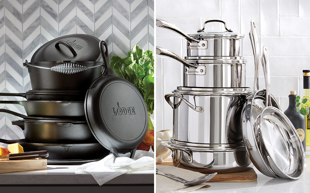 Cast iron cookware and stainless steel cookware for induction cooktop