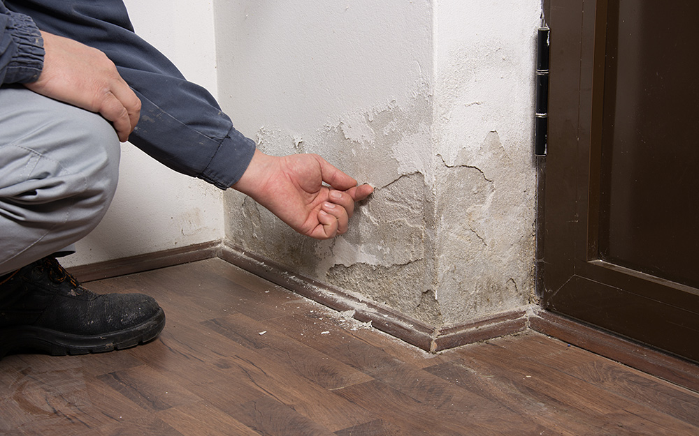 A person points out water damage on drywall near a floor.