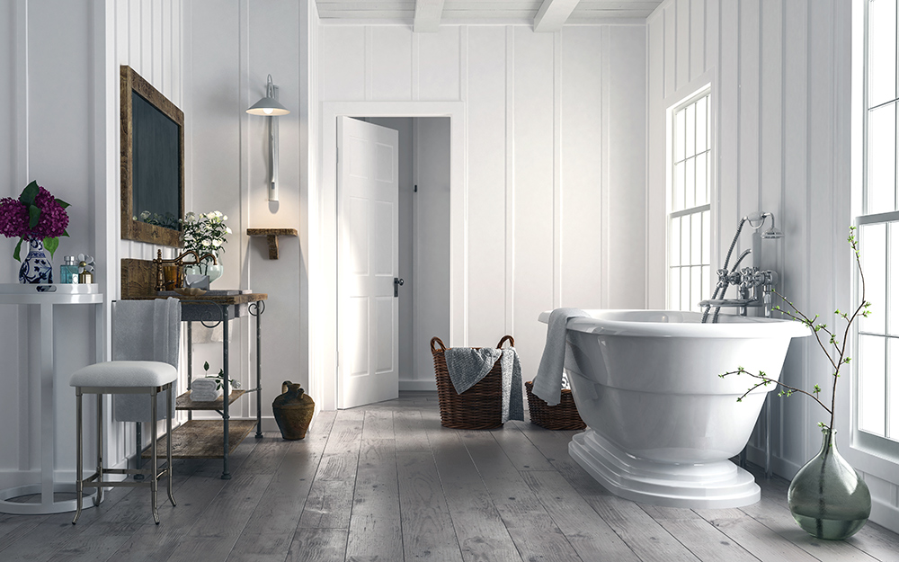 rustic white bathroom with wood finished furnishings