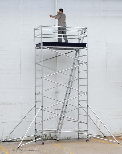 Worker on Platform with Guardrail