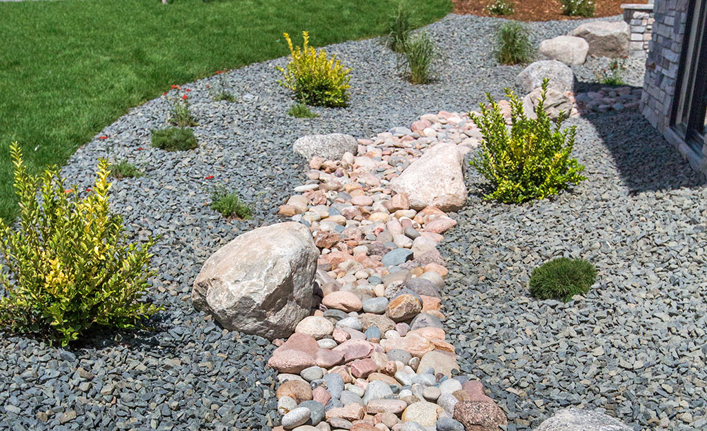 A dry creek bed with shrubs.