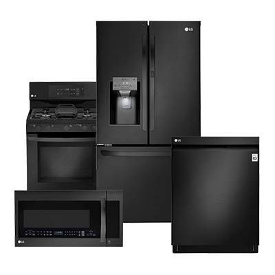 lg black matte refrigerator 4 piece package kitchen appliance packages   the home depot  rh   homedepot com