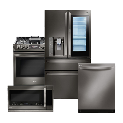 lg black stainless refrigerator 4 piece package kitchen appliance packages   the home depot  rh   homedepot com