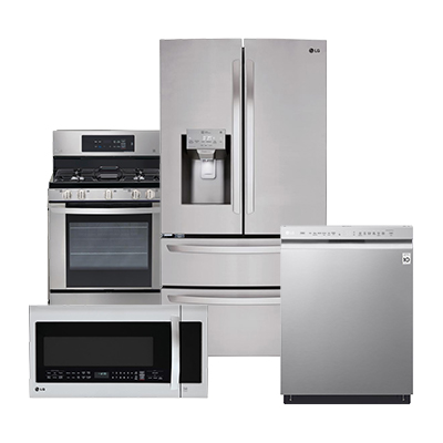 lg stainless steel refrigerator 4 piece package kitchen appliance packages   the home depot  rh   homedepot com