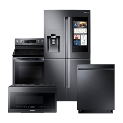 Samsung Black Stainless Refrigerator 4 Piece Package