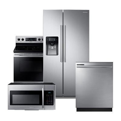 samsung stainless steel refrigerator 4 piece package kitchen appliance packages   the home depot  rh   homedepot com