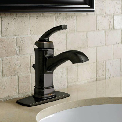 Single handle bathroom sink faucets with deck plate