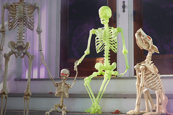 Two Halloween glow-in-the-dark skeletons