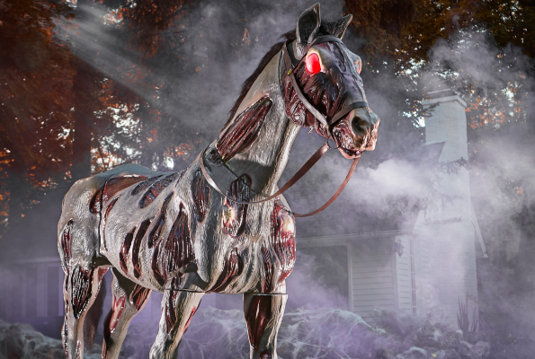 gruesome zombie horse with red lit eyes