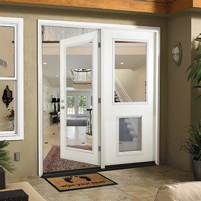 Exterior doors at the home depot for Center hinged patio doors