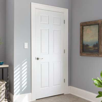 Home doors interior masonite 48 in x 80 in 6 panel primed white hollow core textured mobile for Interior wood doors home depot